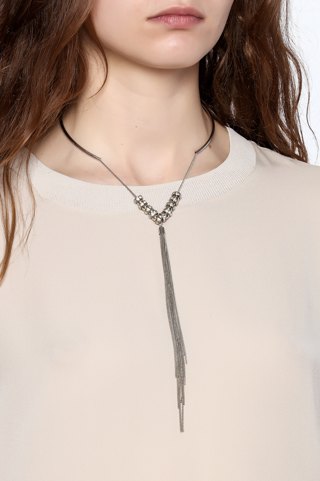 Bio Silver Tassel Necklace - Back Cropped Image