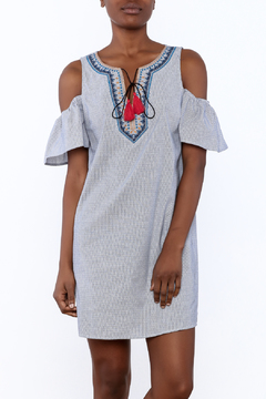 Shoptiques Product: Blue Embroidered Tassel Dress