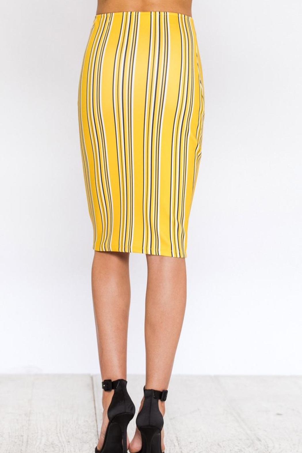 Bio Stripe Pencil Skirt - Side Cropped Image