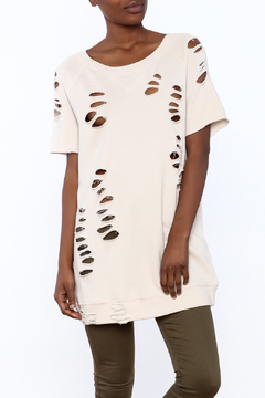 Shoptiques Product: Terry Ripped Tunic Sweatshirt