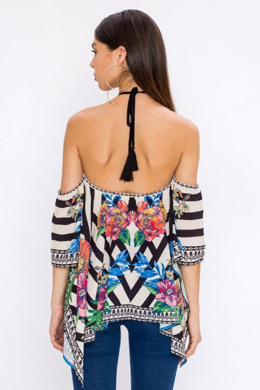 Bio Tropical Halter Blouse - Back Cropped Image