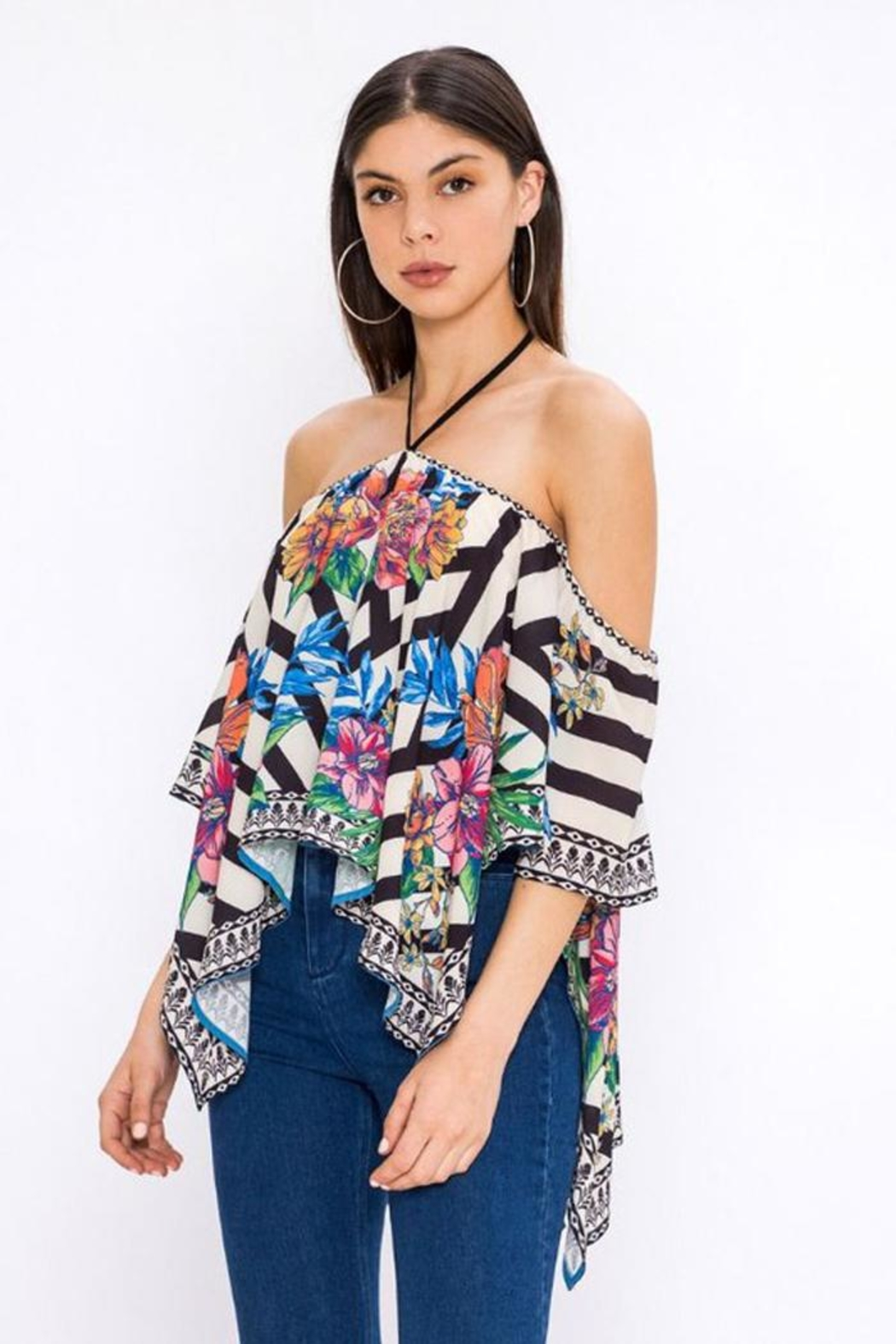 Bio Tropical Halter Blouse - Side Cropped Image