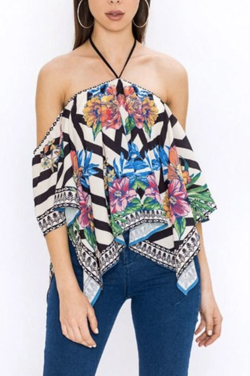 Bio Tropical Halter Blouse - Front Full Image