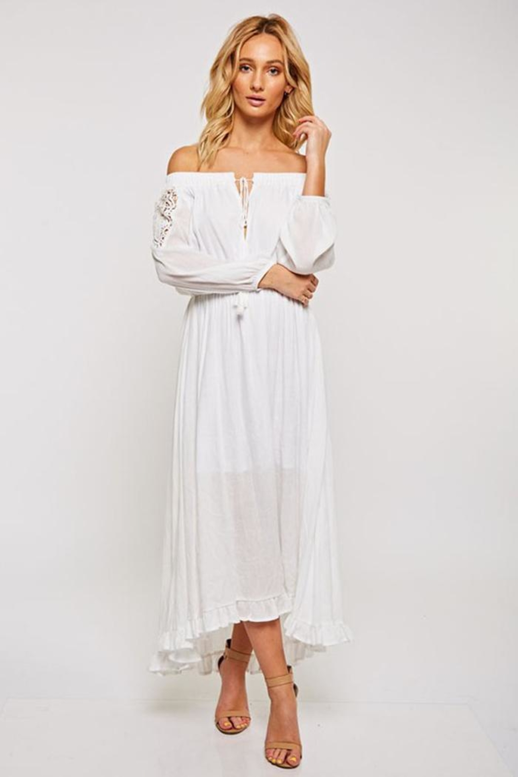 Bio White Maxi Dress - Front Cropped Image