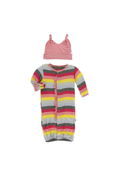Kickee Pants Biology Stripe Print Ruffle Layette Gown Converter & Knot Hat - Alternate List Image