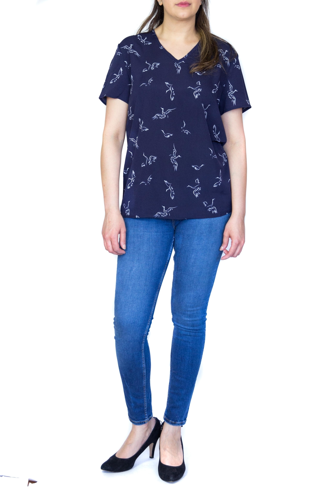 Fashion Pickle Bird Print Top - Back Cropped Image