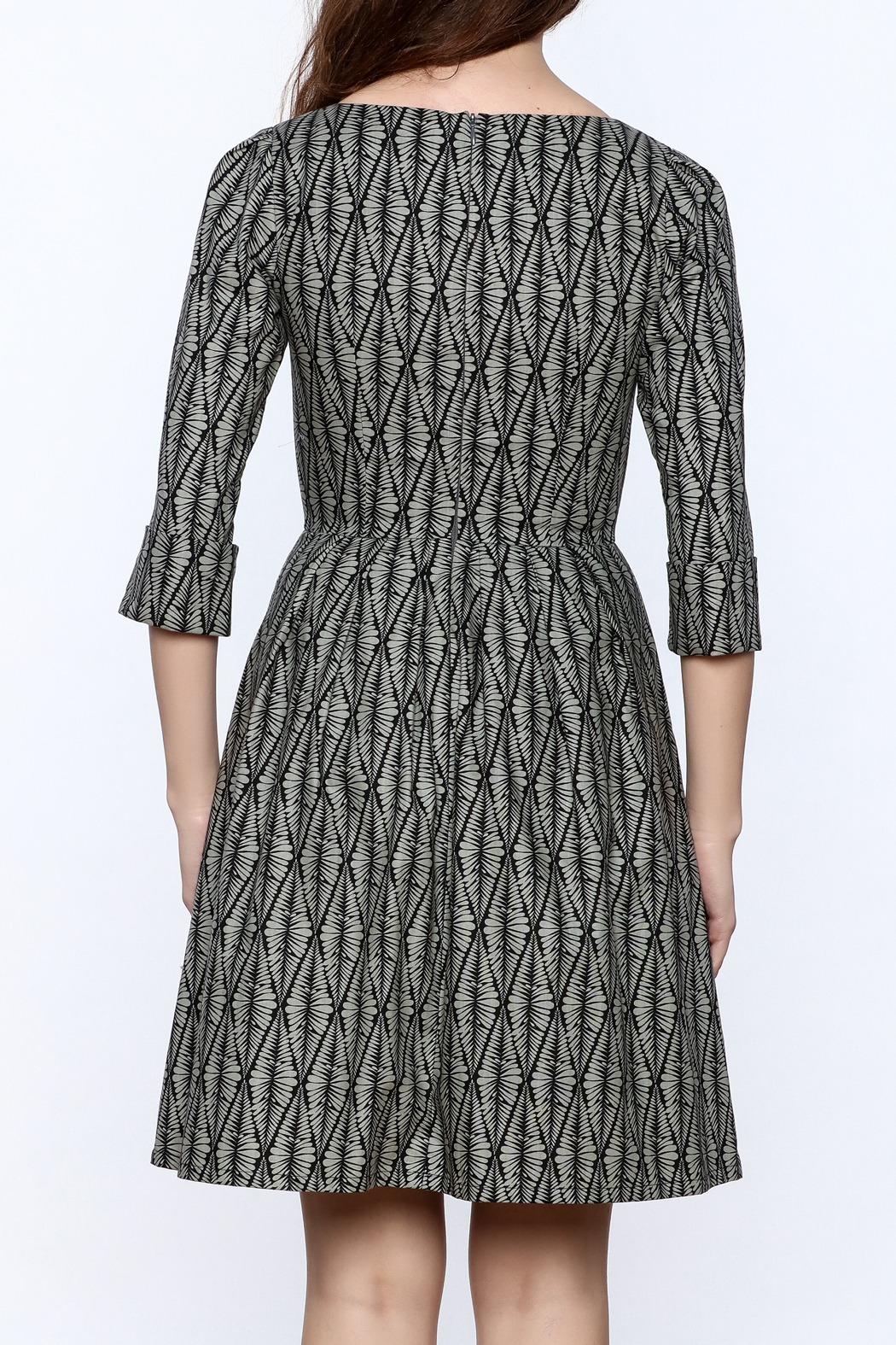 Birds of North America Grey Print Knee Dress - Back Cropped Image