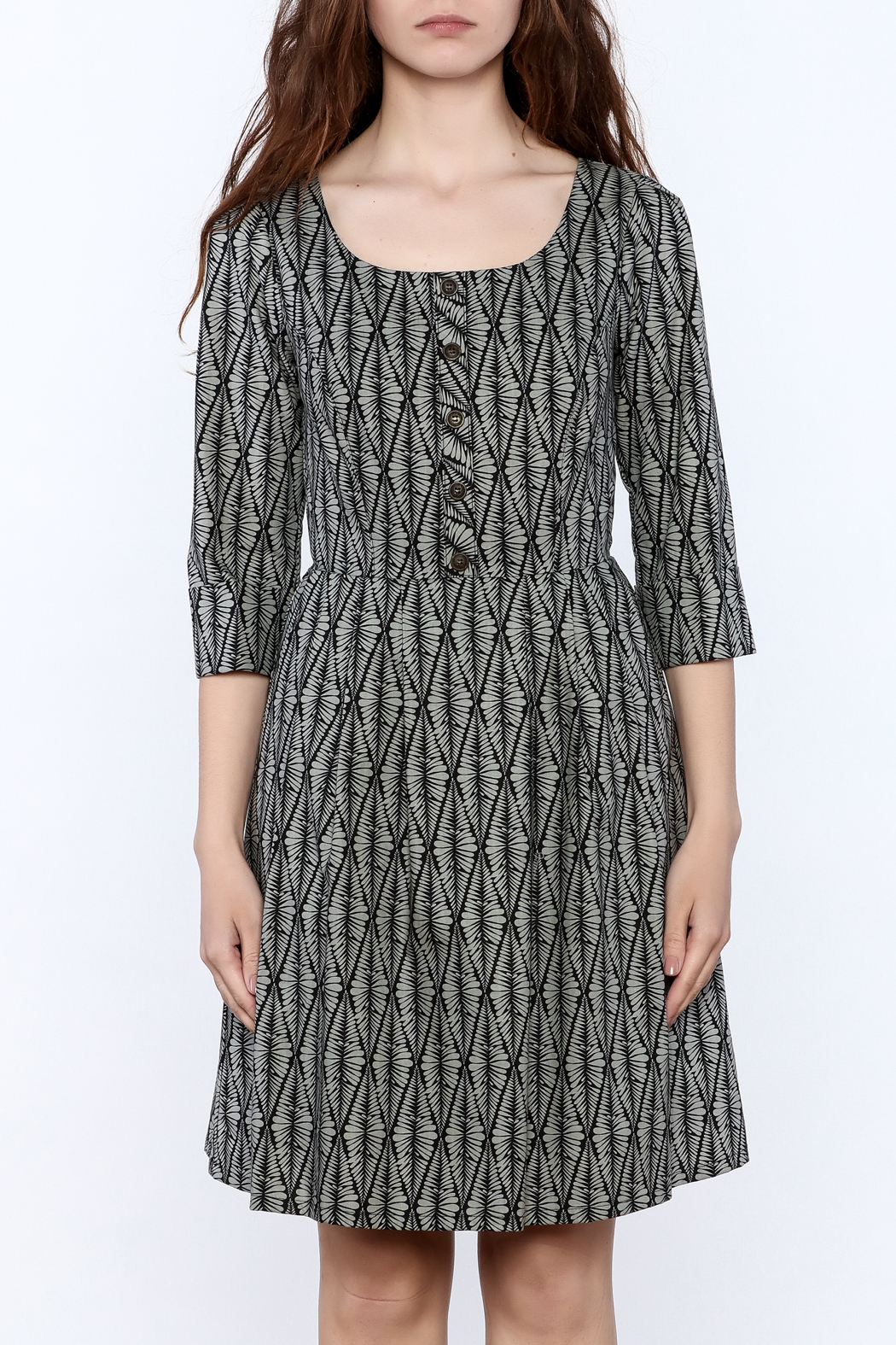 Birds of North America Grey Print Knee Dress - Side Cropped Image