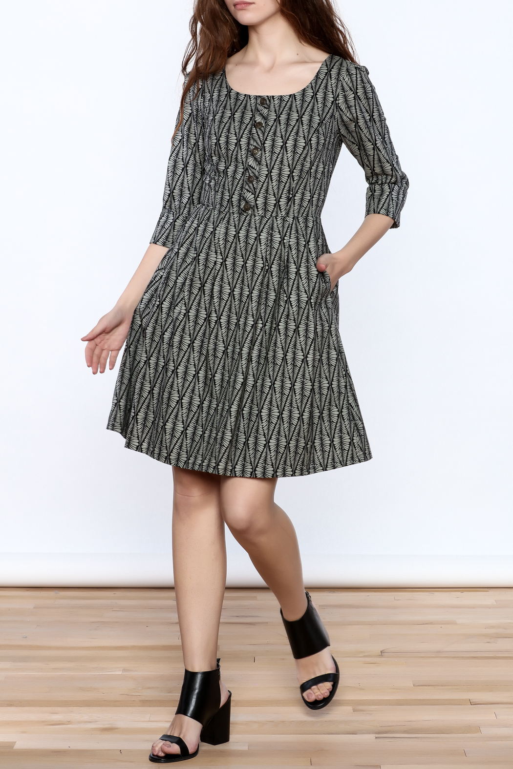 Birds of North America Grey Print Knee Dress - Front Full Image