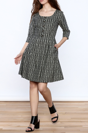 Birds of North America Grey Print Knee Dress - Front full body