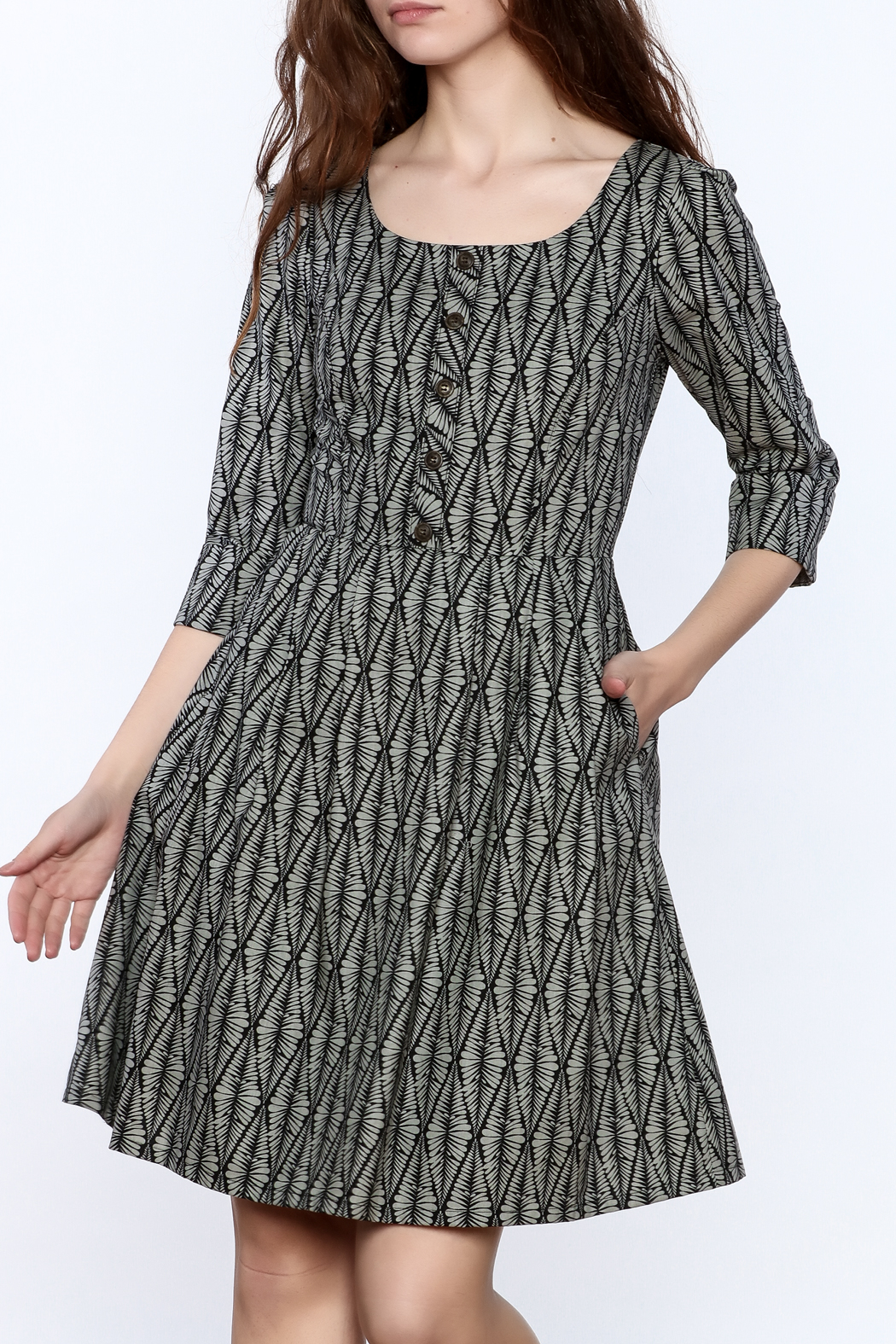 Birds of North America Grey Print Knee Dress - Front Cropped Image