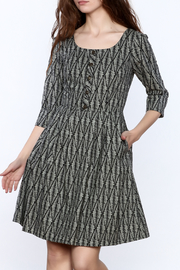Birds of North America Grey Print Knee Dress - Product Mini Image
