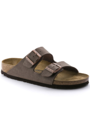 Birkenstock Arizona Birkibuc Medium Width in Mocha - Front cropped