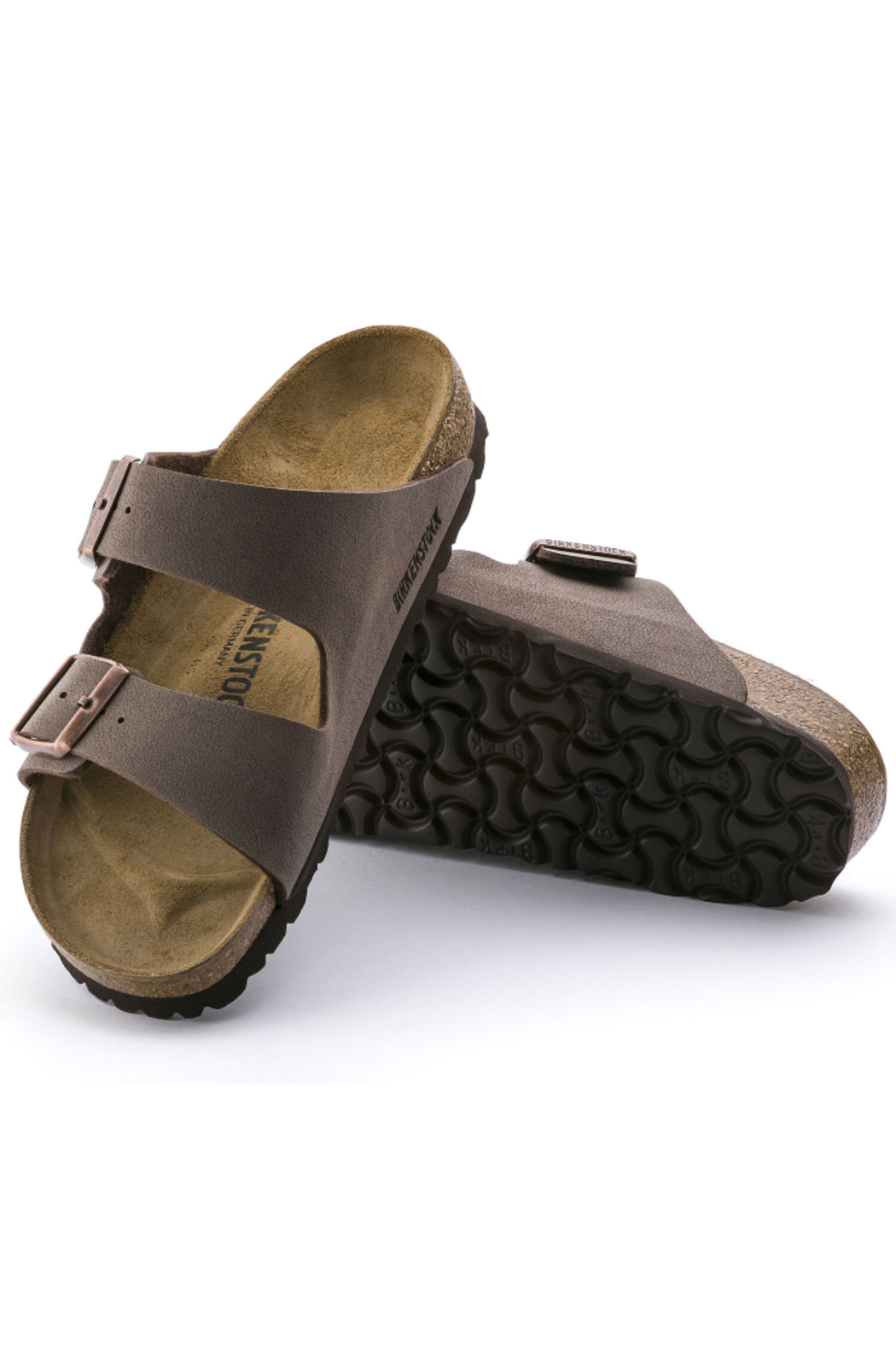 Birkenstock Arizona Birkibuc Medium Width in Mocha - Back Cropped Image