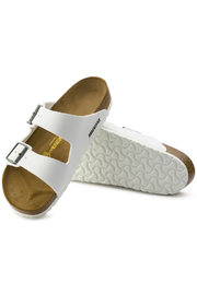 Birkenstock Arizona BS Regular Width in White - Back cropped