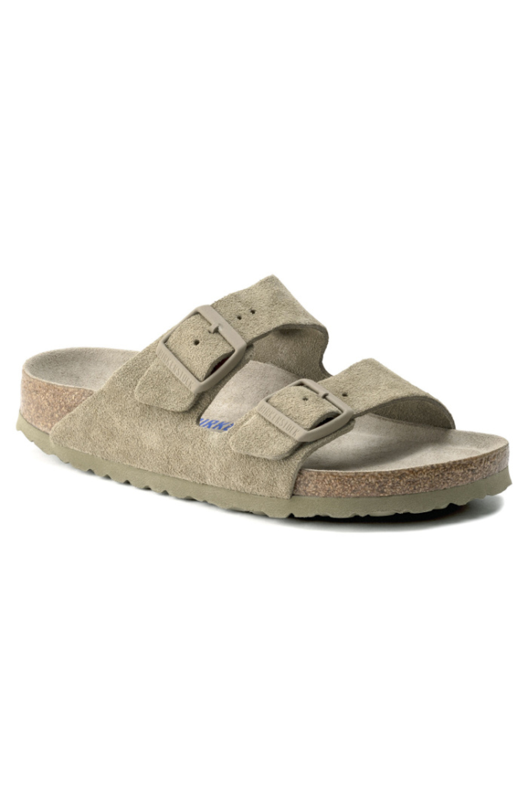 Birkenstock Arizona Soft Footbed Suede Leather in  Faded Khaki - Main Image