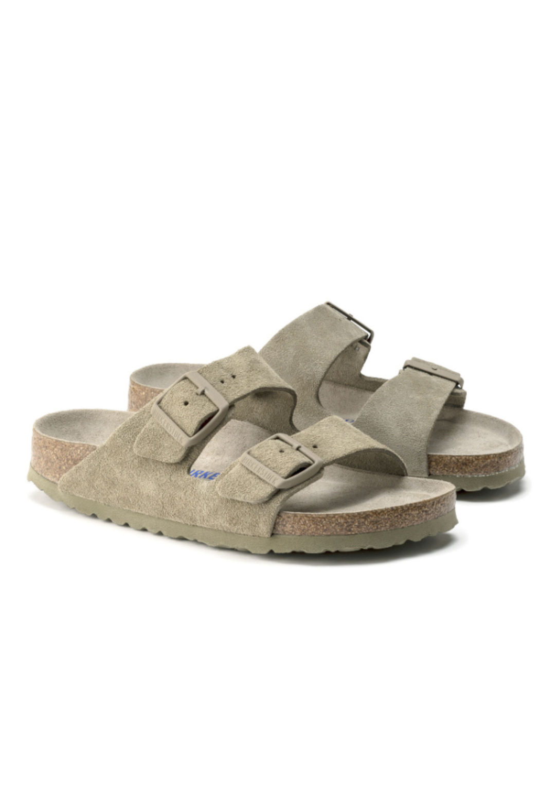 Birkenstock Arizona Soft Footbed Suede Leather in  Faded Khaki - Side Cropped Image