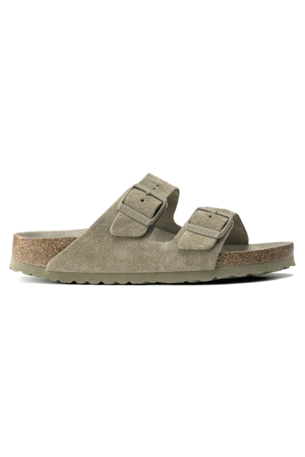Birkenstock Arizona Soft Footbed Suede Leather in  Faded Khaki - Front Full Image