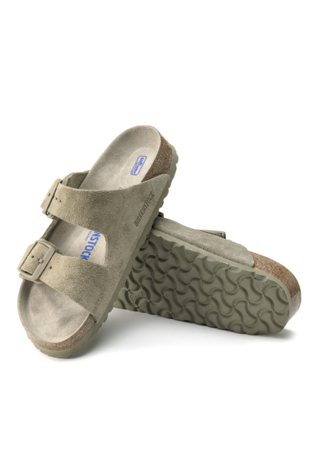 Birkenstock Arizona Soft Footbed Suede Leather in  Faded Khaki - Back Cropped Image