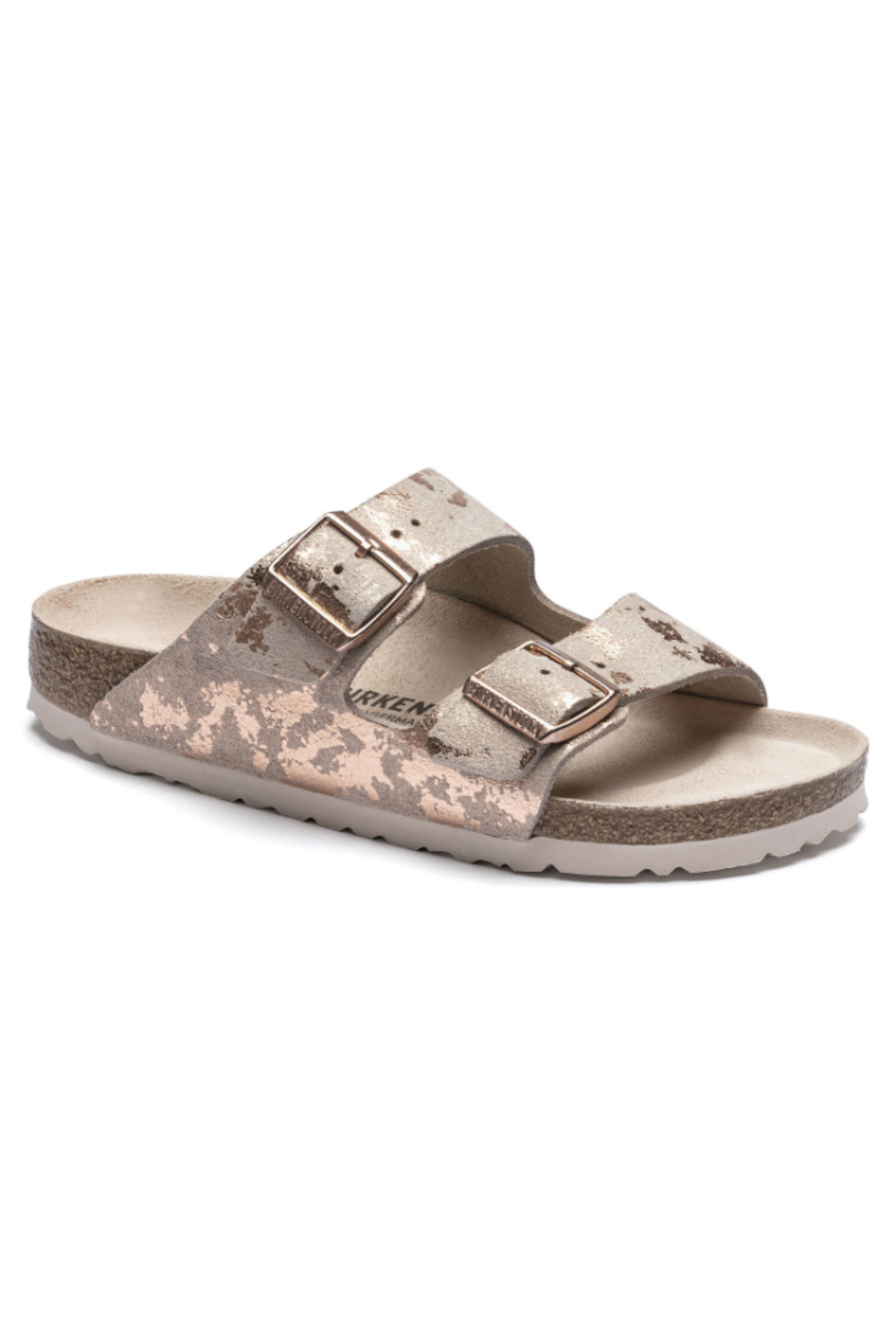 Birkenstock Arizona Suede Leather in Vintage Metallic Rose Copper Medium/Narrow Width - Front Cropped Image