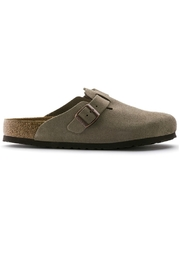 Birkenstock Boston Narrow Width in Taupe - Front full body