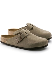 Birkenstock Boston Narrow Width in Taupe - Side cropped
