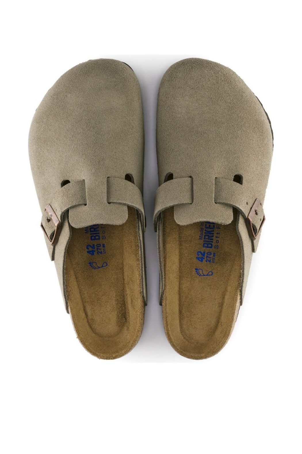Birkenstock Boston Narrow Width in Taupe - Back Cropped Image