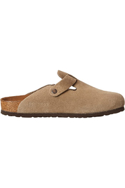 Birkenstock Boston Taupe Suede Narrow Hard Footbed - Front cropped