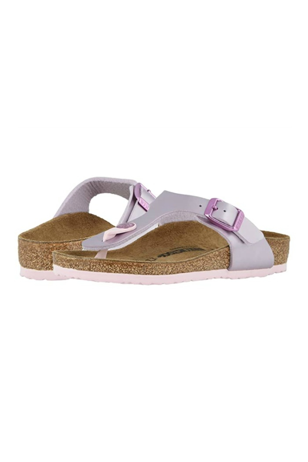 Birkenstock Gizeh Kids in Electric Metallic Lilac - Back Cropped Image