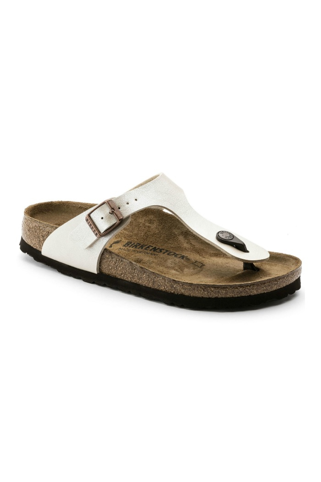 Birkenstock Narrow Gizeh- Graceful Pearl White - Front Cropped Image