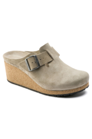 Birkenstock Papillio Fanny Narrow/Medium Width in Taupe Suede - Front cropped