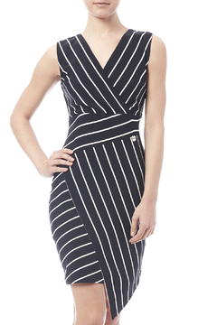 Biscuit Asymmetrical Striped Dress - Product List Image