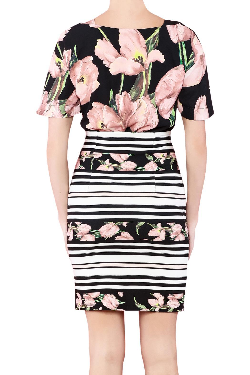 Biscuit Flower Print Dress - Front Full Image