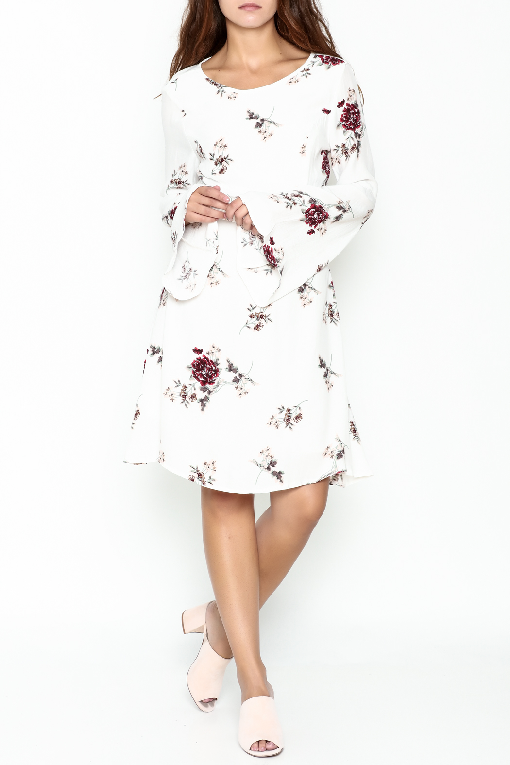 Biscuit Floral Dress - Side Cropped Image