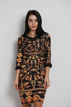 Biscuit Printed Fitted Dress - Product List Image