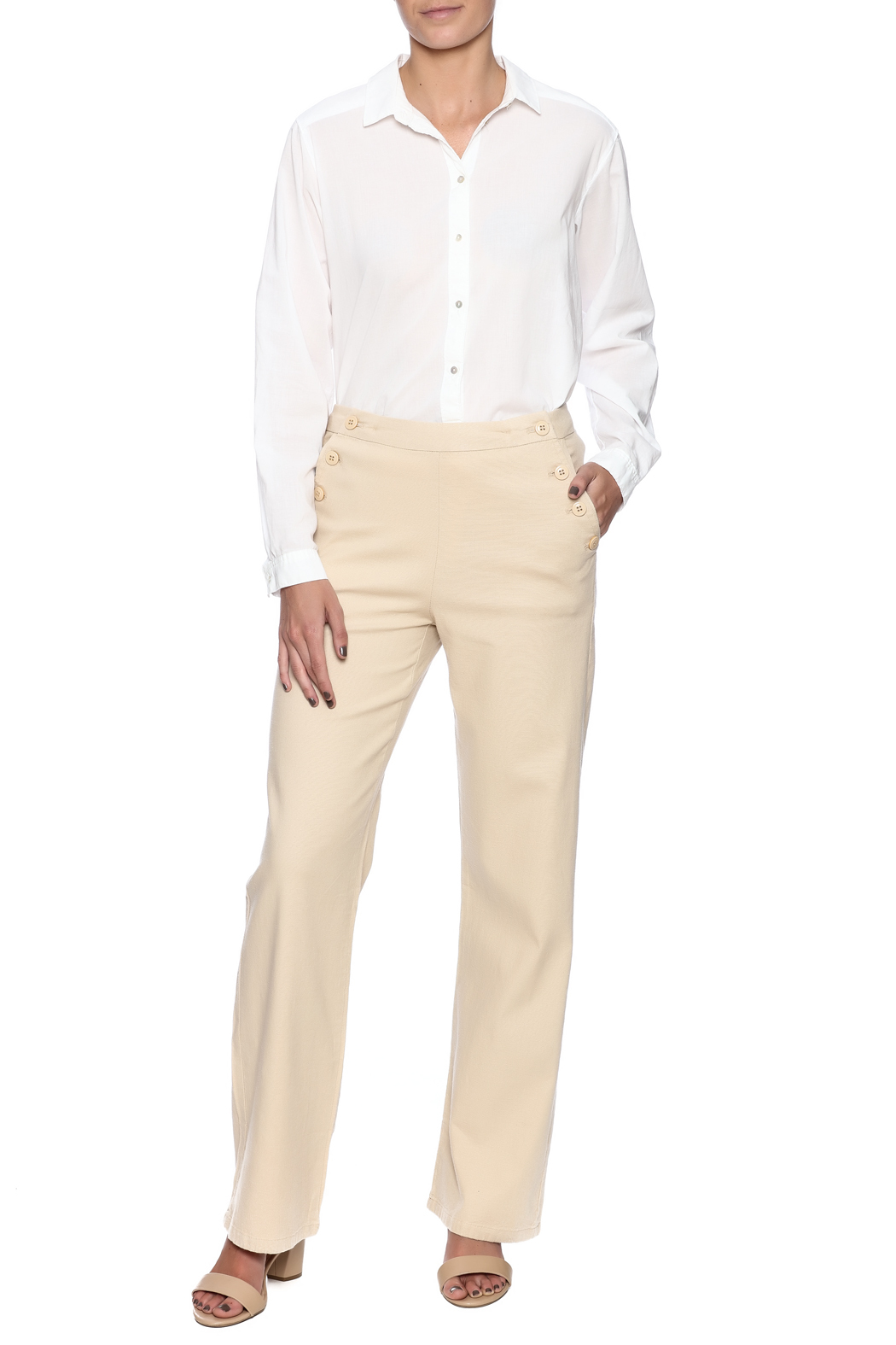 Bishop + Young Button Front Pants - Front Full Image