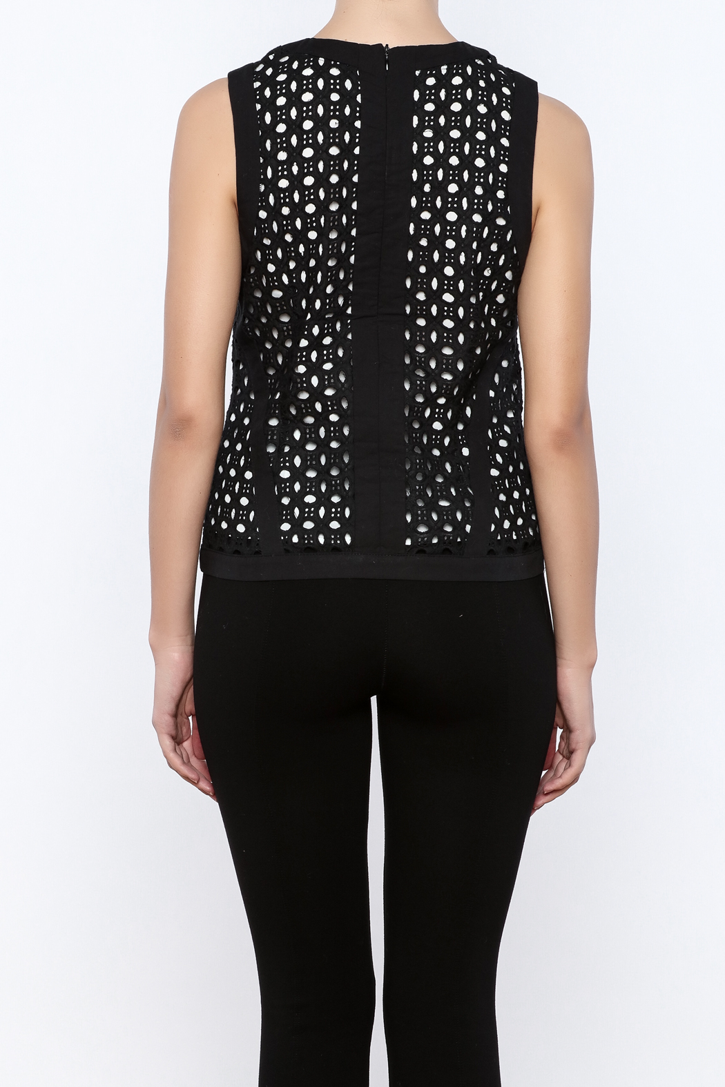 Bishop + Young Eyelet Contrast Top - Back Cropped Image
