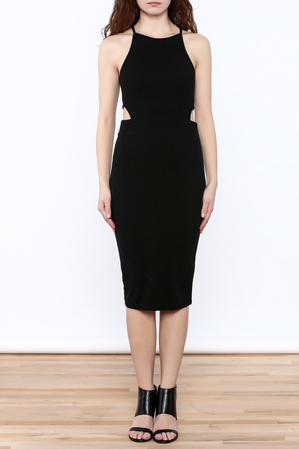 Bishop + Young Black Cut-Out Dress - Front Cropped Image