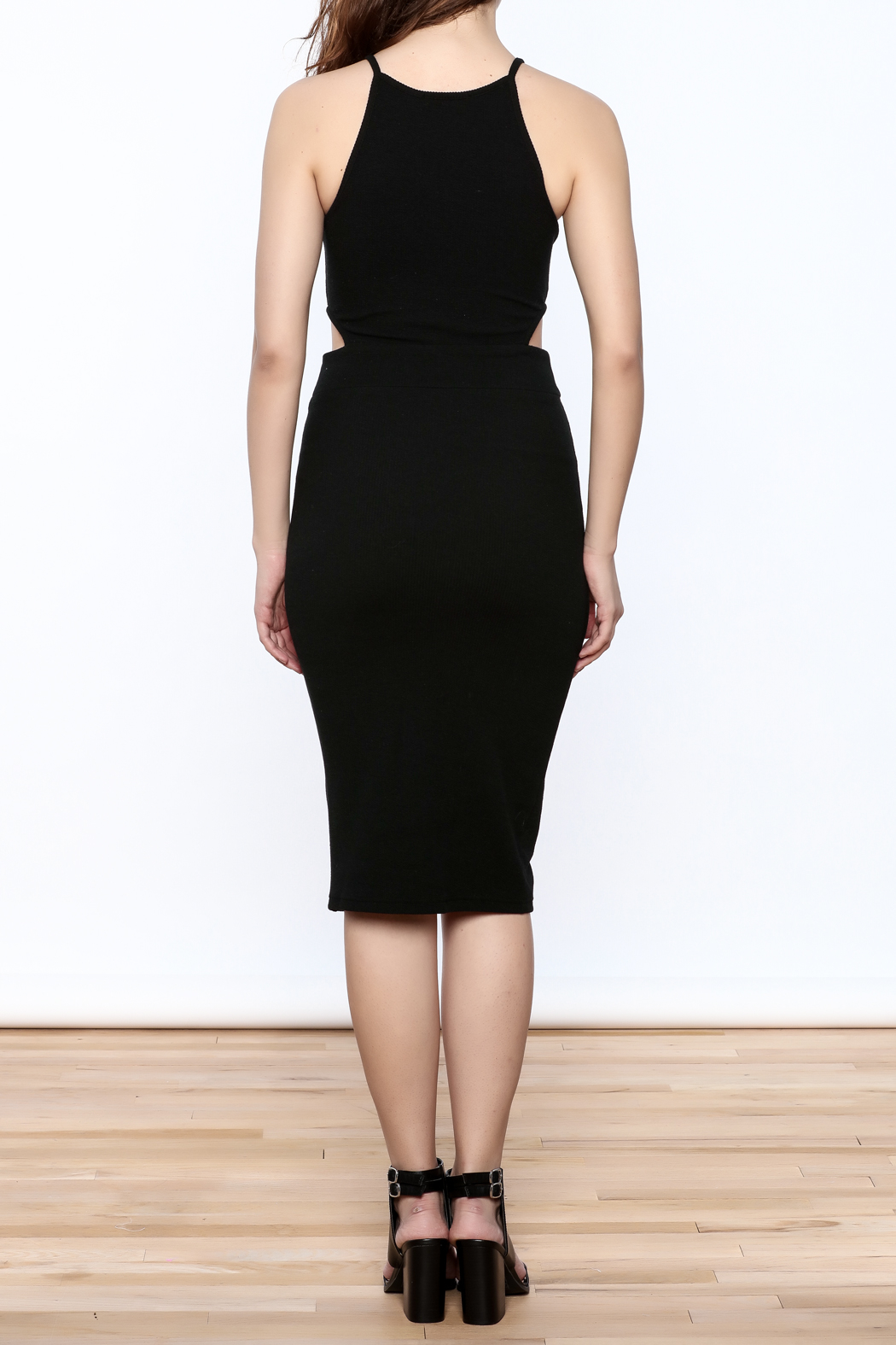 Bishop + Young Black Cut-Out Dress - Back Cropped Image
