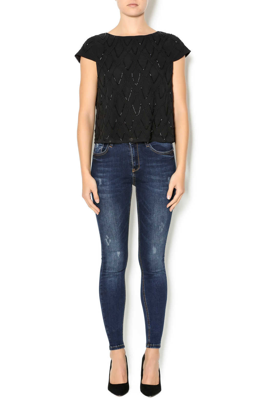 bishop black beaded top from florida by chasing