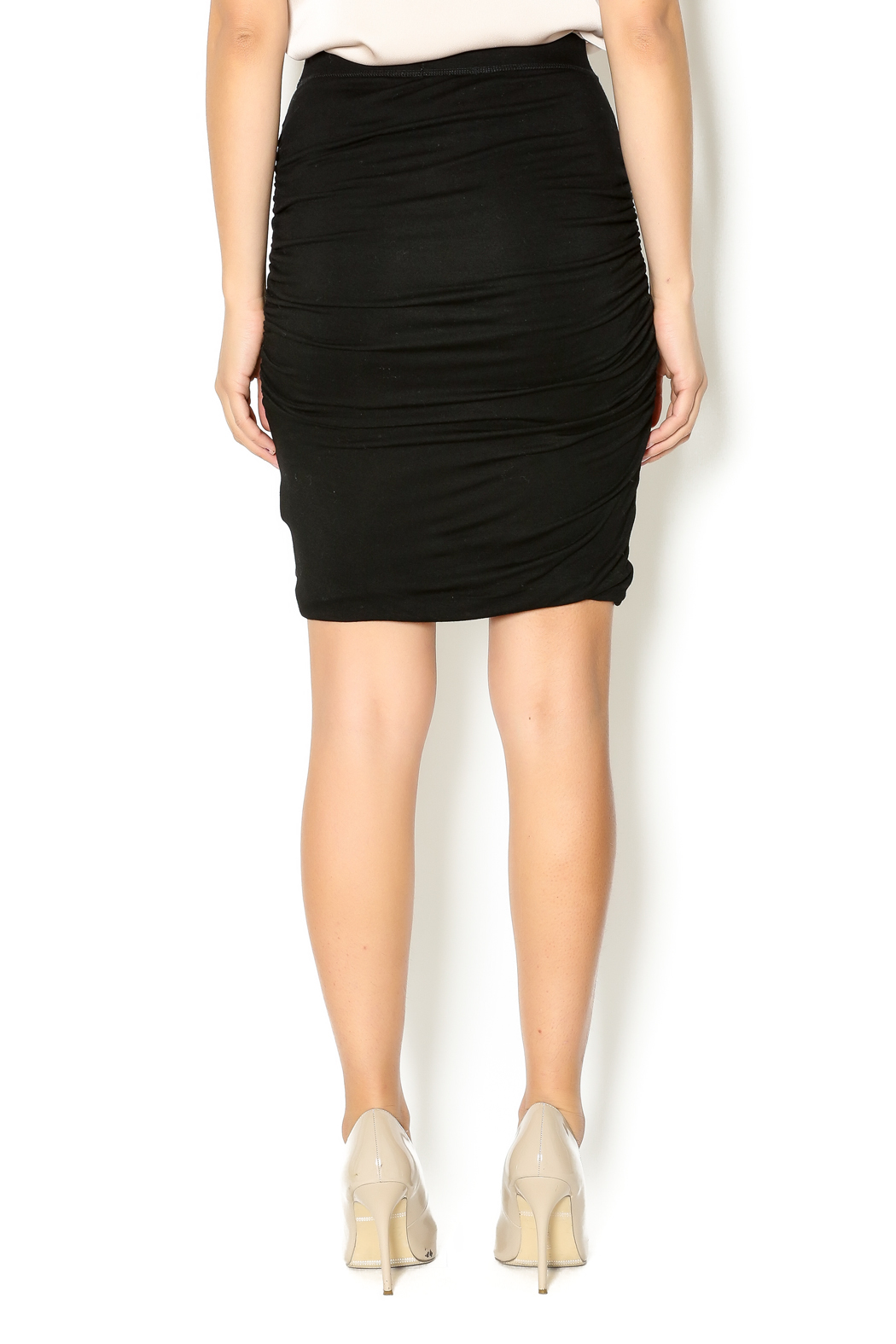 Bishop + Young Black Ruched Skirt - Back Cropped Image