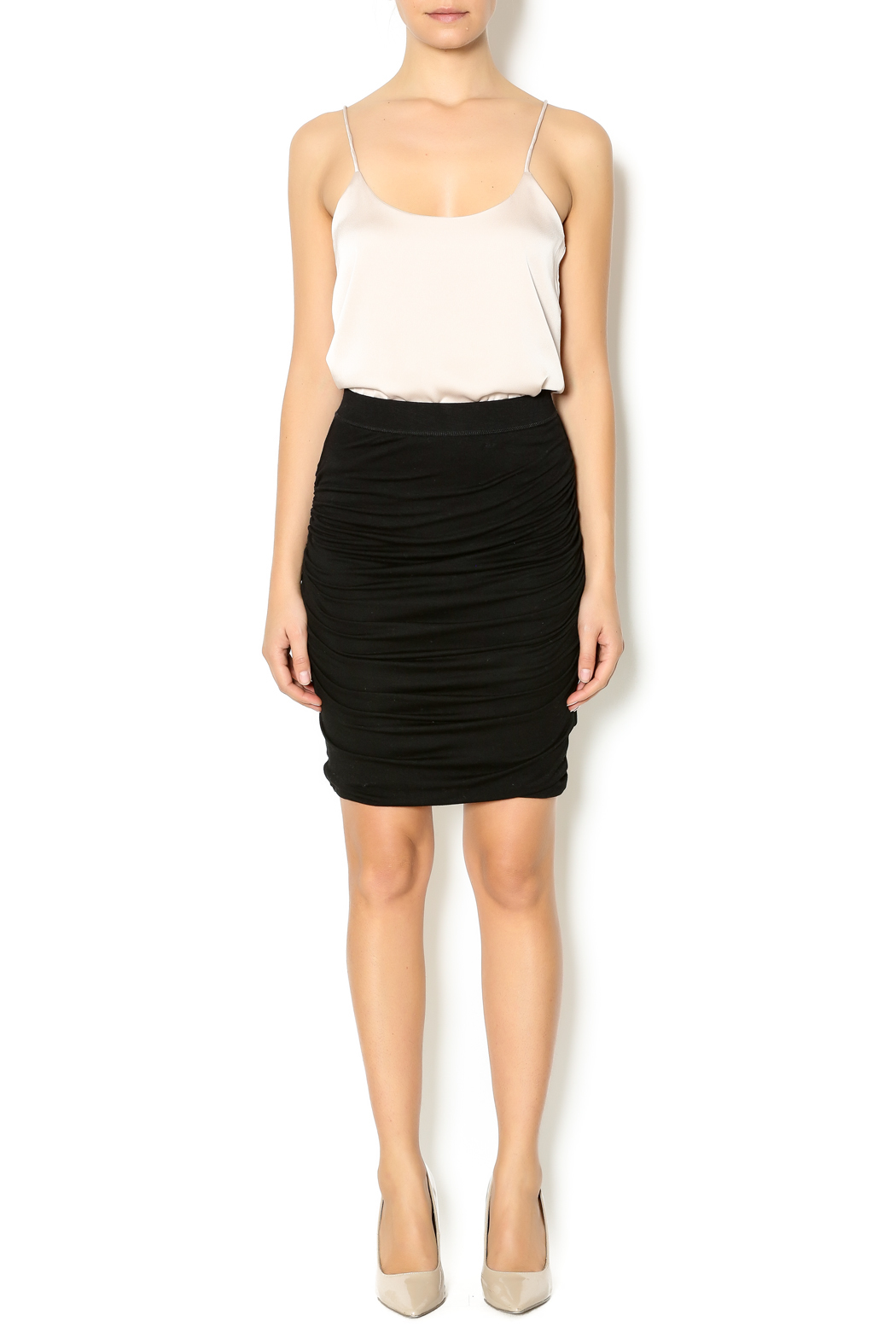 Bishop + Young Black Ruched Skirt - Front Full Image