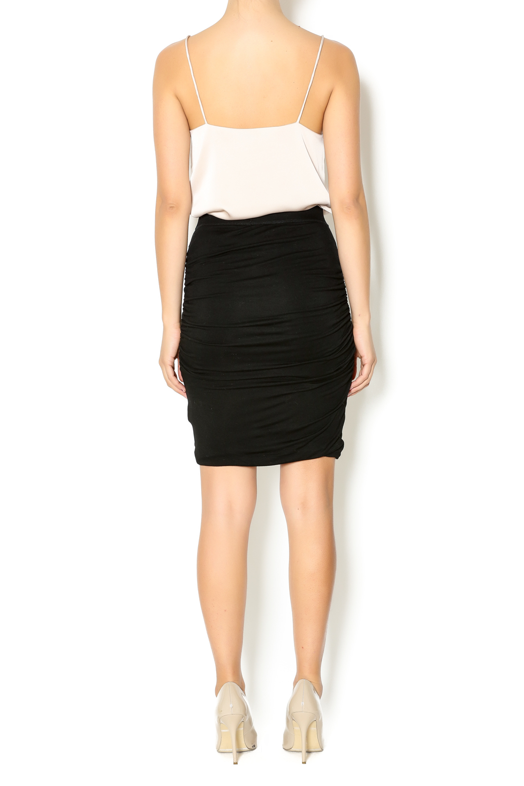 Bishop + Young Black Ruched Skirt - Side Cropped Image