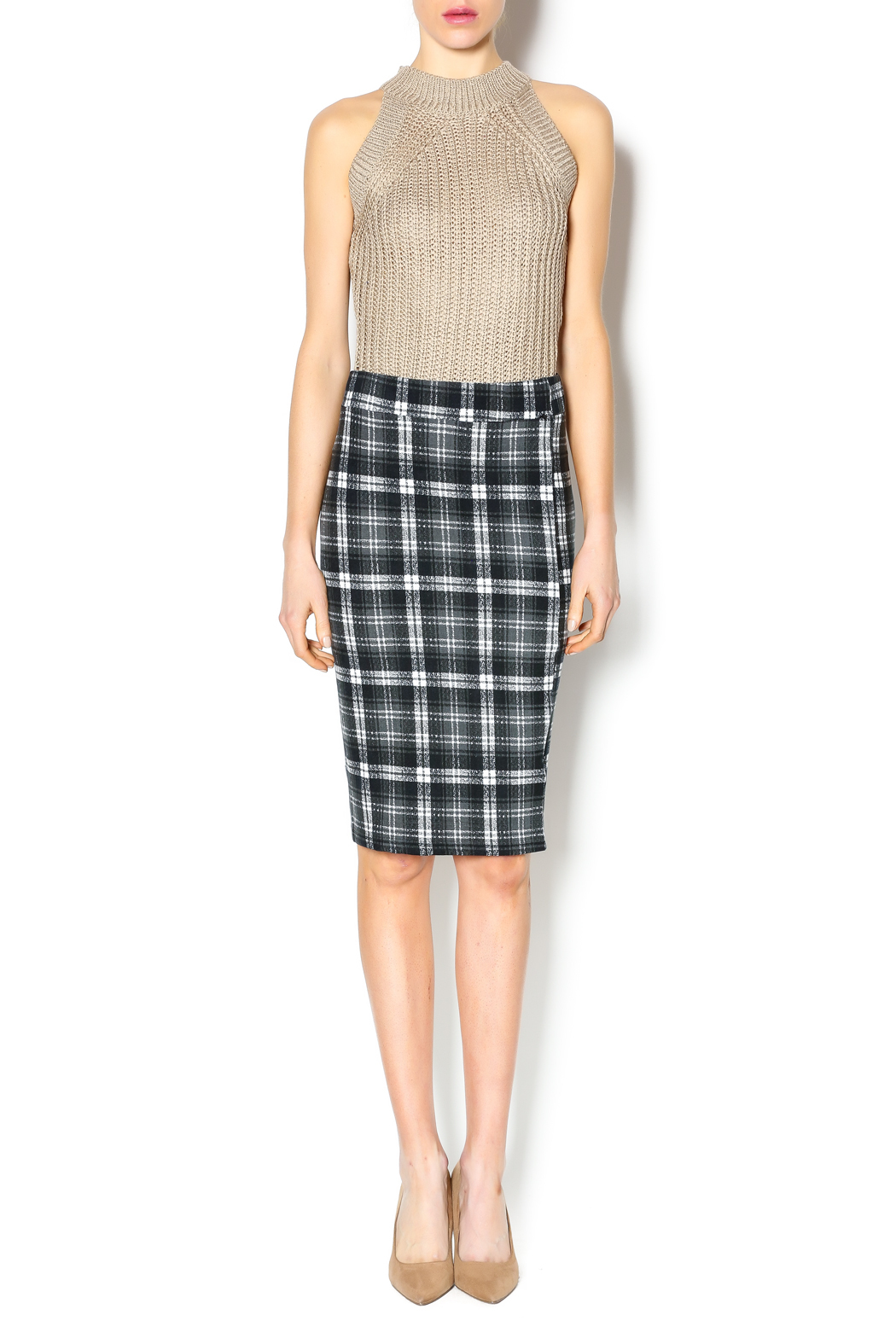 Bishop + Young Plaid Pencil Skirt - Front Full Image
