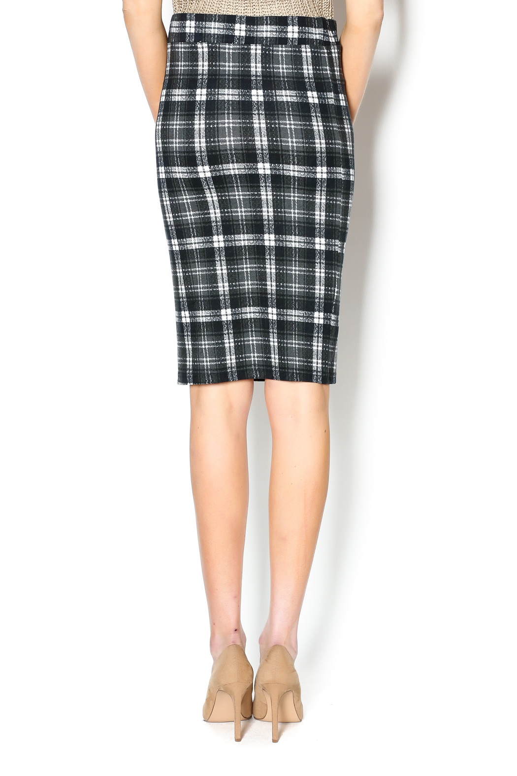 Bishop + Young Plaid Pencil Skirt - Back Cropped Image
