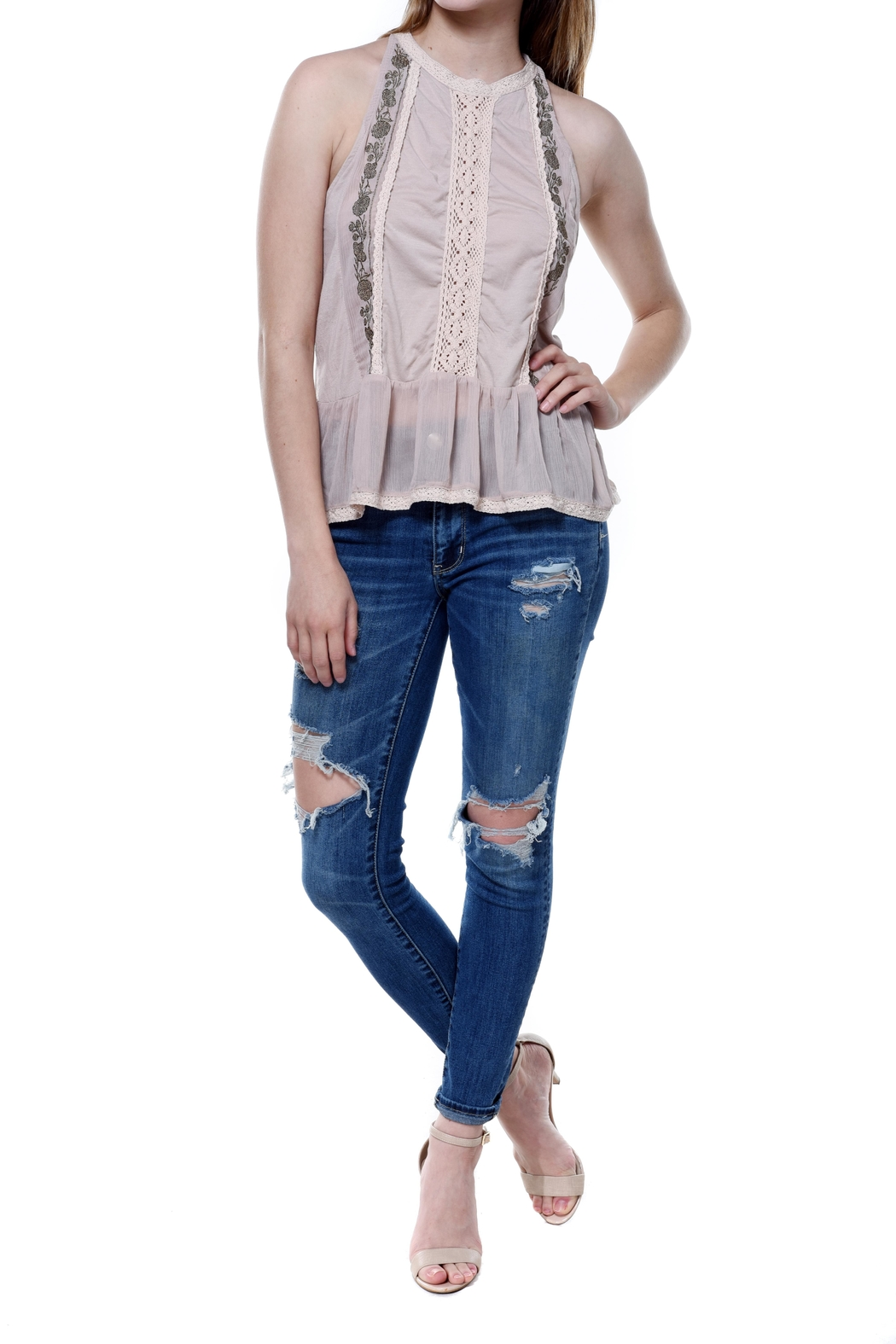 Bishop + Young Daniela Embroidered Sleeveless Blouse - Front Full Image