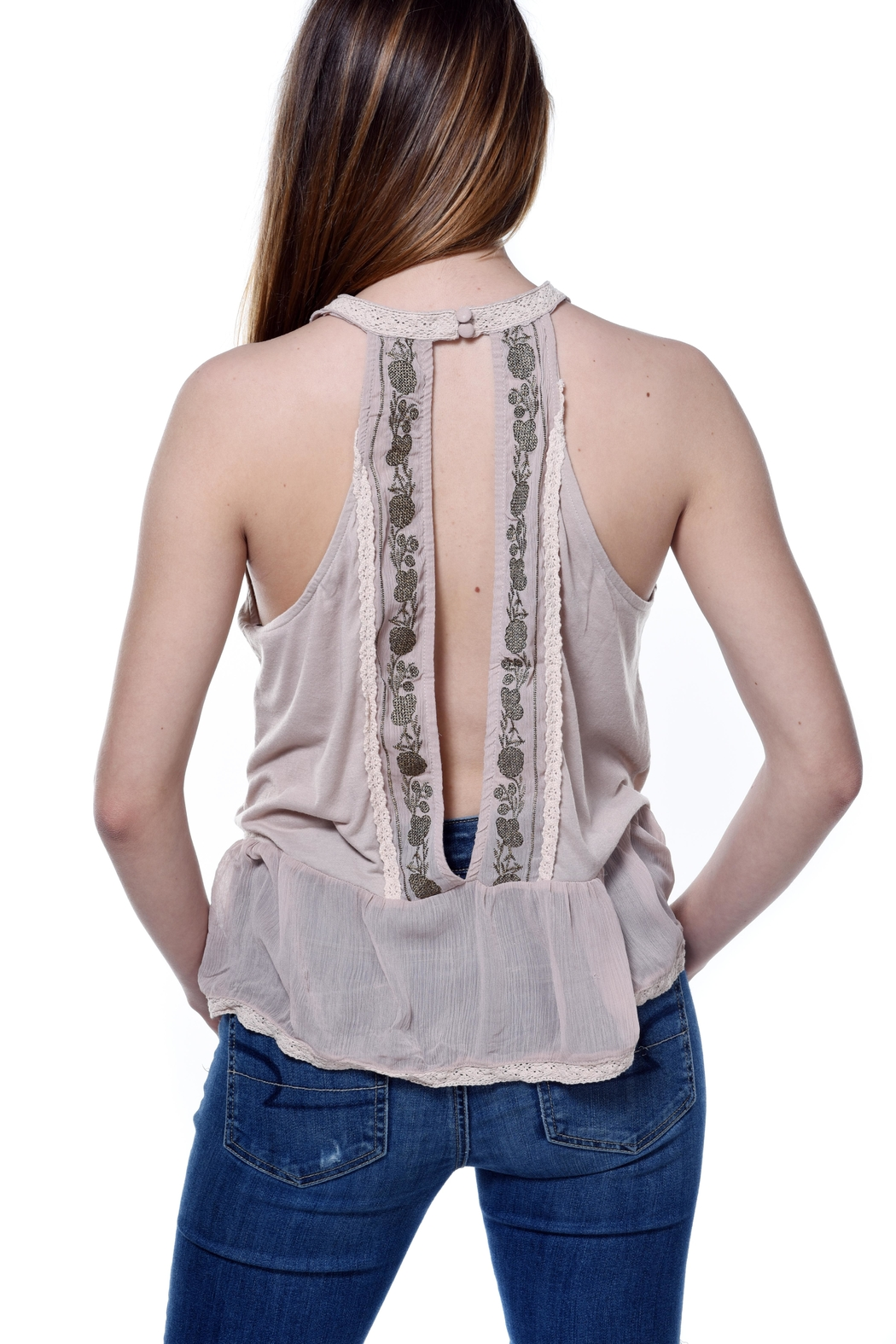 Bishop + Young Daniela Embroidered Sleeveless Blouse - Side Cropped Image