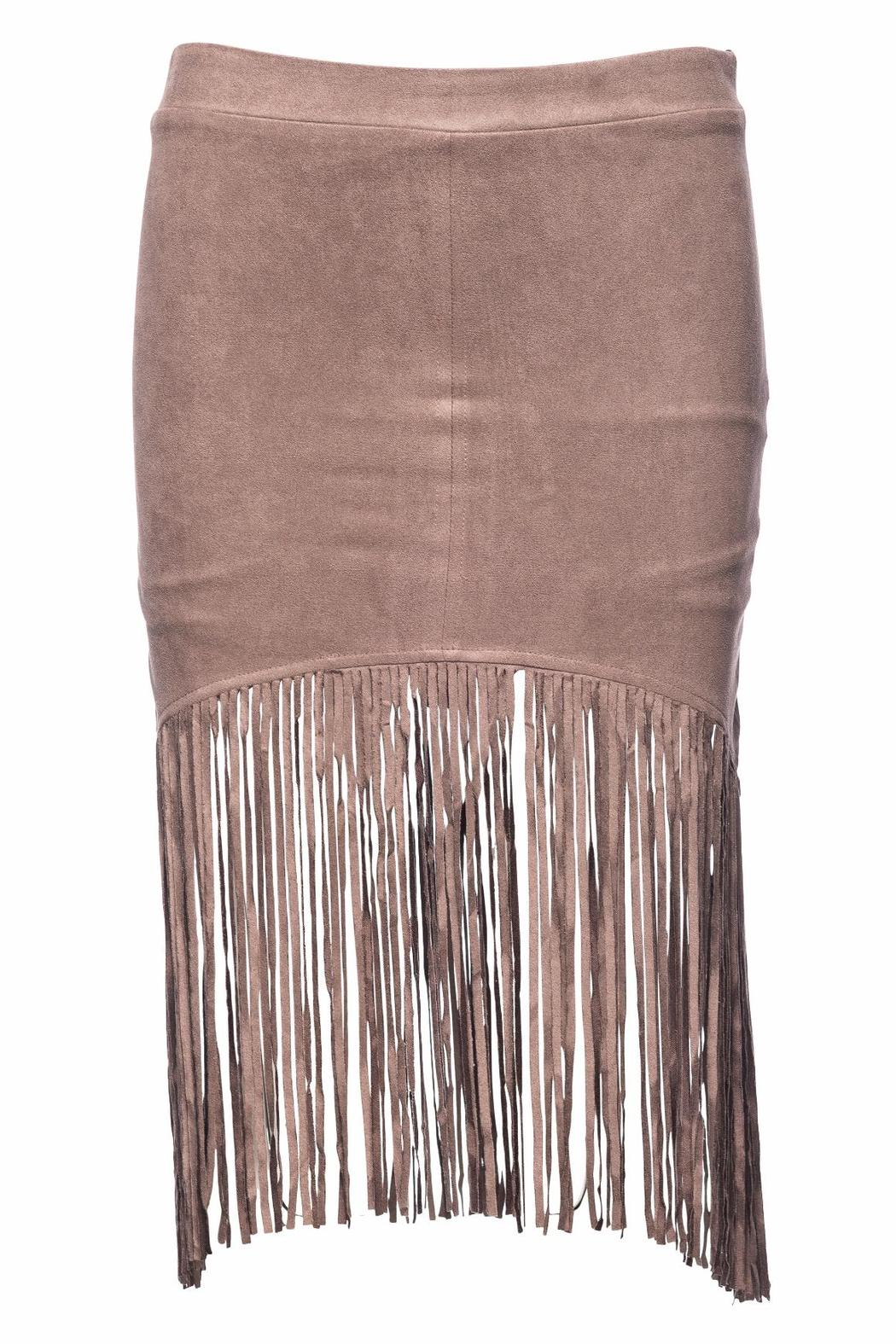 Bishop + Young Suede Fringe Skirt - Front Cropped Image