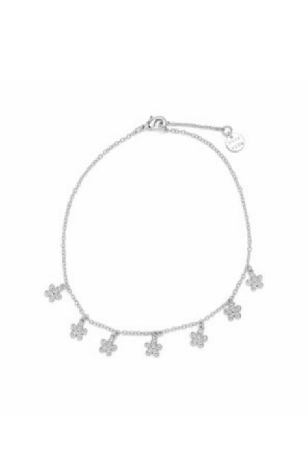 Puravida Bitty Daisies Anklet-Silver - Front Full Image