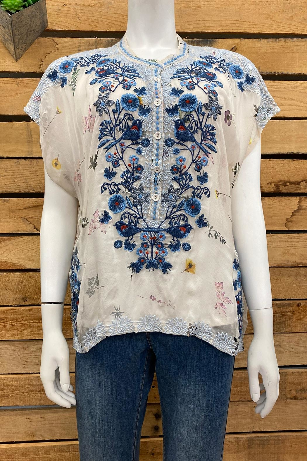 Biya by Johnny Was Bluewell Chiffon Blouse - Front Cropped Image